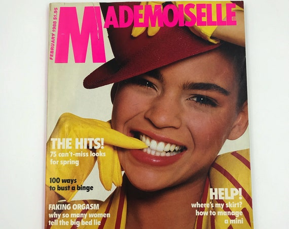 1988 Mademoiselle Fashion Magazine February Issue - Vintage New York Young Womens Rare Fashion Magazine - Spring Looks Horoscope Beauty Q&A
