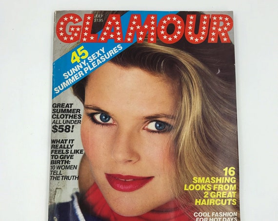 1986 GLAMOUR Fashion Magazine July Issue - Rare Vintage New York Womens Iconic Fashion Magazine - Sex Guide Horoscope Beauty Q&A 222 Pages