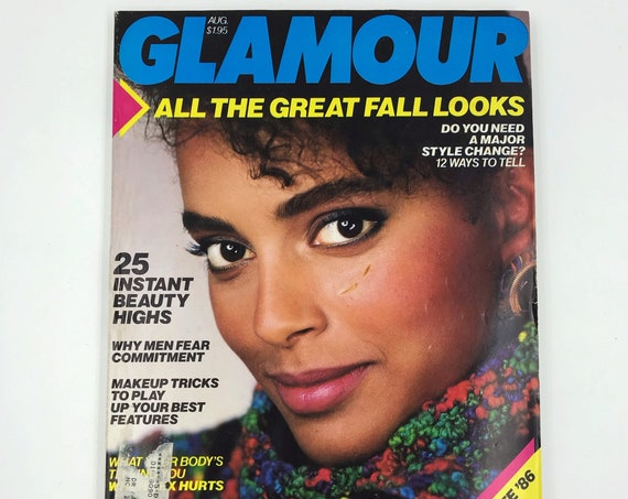1986 GLAMOUR Fashion Magazine August Fall Issue - Rare Vintage New York Womens Iconic Fashion Magazine - Horoscope Beauty College Q&A Makeup