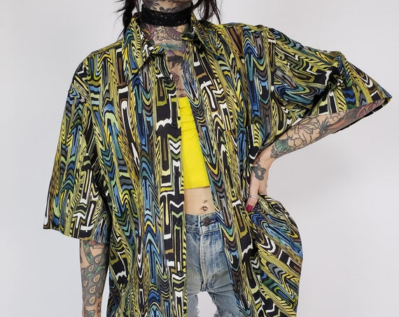 90s Vintage Allover Print Mens Button Up Shirt Large - Abstract Trippy Print VTG Short Sleeve Shirt - 1990s Retro Italian Men's Fashion