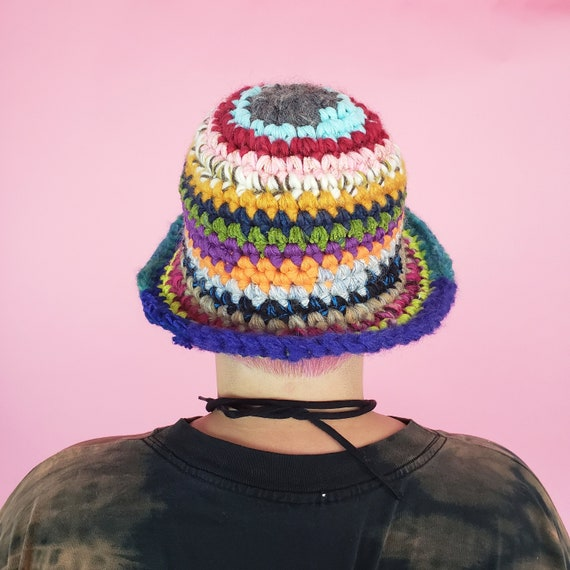 Handmade Crochet Rainbow Bucket Hat - Made to Order Unique Multi Color Stripe Womens Knit Hats - Soft Handknit Fall Winter Upcycled Yarn Hat
