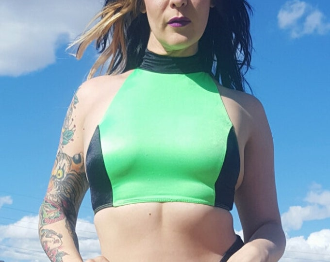 90s Vintage Cropped Neon Green Halter Top  - High Neck Crop Tank Top - Black Lime Green Colorblock Top XS Extra Small - Retro 1990s Shirt