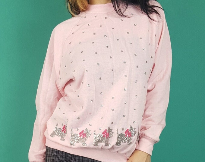 Vintage Pink Preppy Sparkle Sweatshirt Small  - Soft 80s Vtg Jumper Sweater with Silver Glitter Scottie Dogs - Sparkly Polka Dots