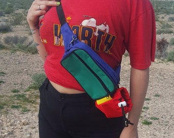 90's Colorblock Primary Colors Fanny Pack Belt Bag - Vintage Red Blue Yellow Green Hip Bag Large Adult - Adjustable Colorful Streetwear Bag