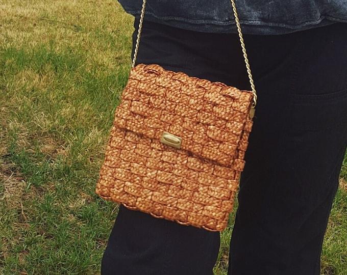 1960s Vintage Light Brown Basket Wicker Bag - Gold Chain Strap Small Handbag Purse - 60s Vtg Natural Tan Front Flap Woven Textured Bag