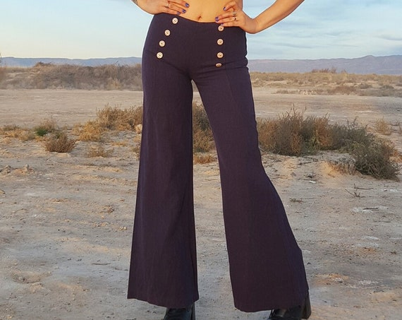 70s Vintage Bell Bottom Pants - XS Small Womens Navy Blue Flare Pant - Purple Low Waist Vtg Elephant Bell Sailor Style Trousers