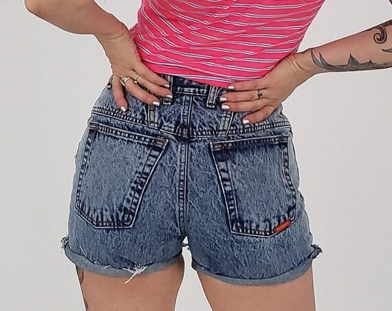 80's Vintage Acid Wash Denim High Waist Shorts - 4/6 Small Light Wash Bonjour Highwaisted Cut Off Jean Shorts - Frayed Hem Cutoffs
