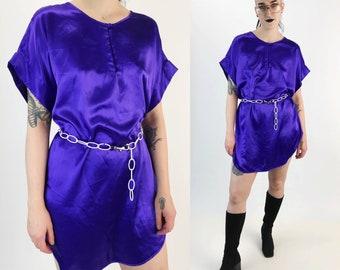 90's Silky Slip Dress Lightweight Slip On Lingerie Dress Medium - Vintage Electric Purple Long Lingerie Top Sexy Satiny Mini Shirt Dress