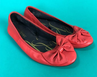 80s Sam & Libby Bow Flats Size US 9 - Chocolate Brown Cute Girly Leather Ballet Flats - Spring Summer Everyday Shoe Preppy Bow VTG Basics