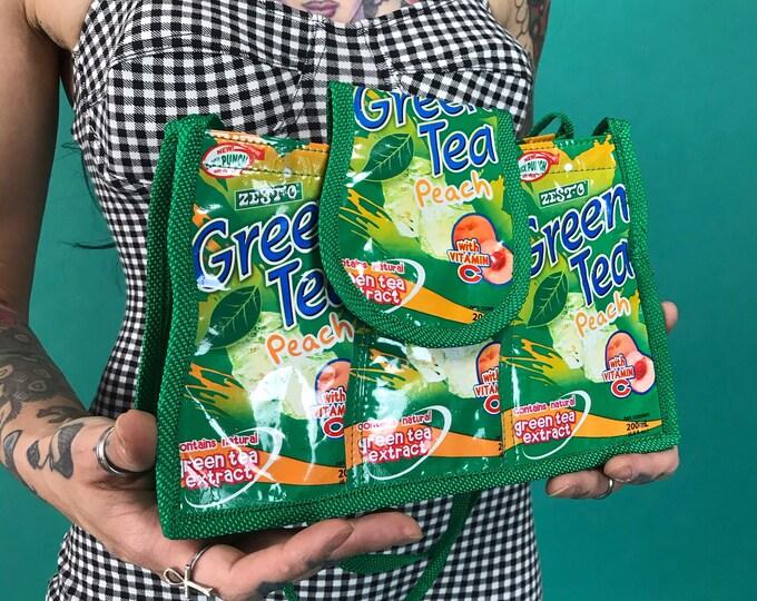 Handmade Recycled Green Tea Peach Mini Purse - Reworked Food & Drink Package Weird Kitschy Cute Summer Bag - Green Clear Panel Handbag