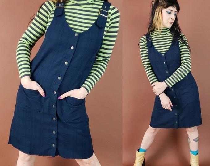 90's Blue Plaid Overall Jumper Mini Dress Medium - 1990s Womens Overalls Strap Grunge Raw Hem Minidress - Button Up Sleeveless Dress