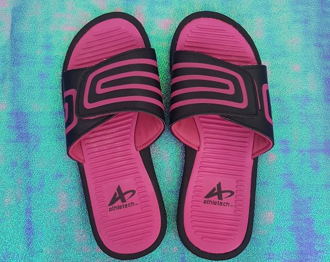 Vintage 90s y2K Black Pink Stripe Slide Sandals - 1990s VTG Womens Open Toe Athletic Sandal - Summer Slides Sporty Shoes size 5/6