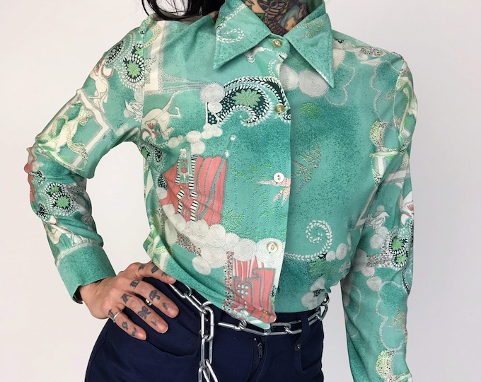 70's Polyester Dancing Ladies Retro Pattern Shirt - Long Sleeve Button Up Pastel Printed Blouse - All Over Print Feminine Girly Abstract