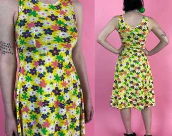 d753c88584 90 s Yellow Rainbow Daisy Print Sleeveless Cotton Midi Dress Small - VTG  Stretchy Casual Sprint Feminine Flower Print Colorful Girls Dress