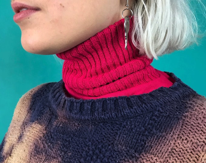 90's Turtleneck Dickey One Size - Vintage Under Layer High Neck Hot Pink Knit Fashion Accessory - Casual Basic Turtleneck Add On Collar