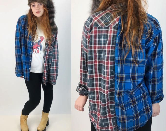 Remade Split Vintage 2 Tone Flannel Adult Large - 1990's Mixed Prints Plaid Blue Green Oversized Remade Hybrid Flannel Unique Unisex Top