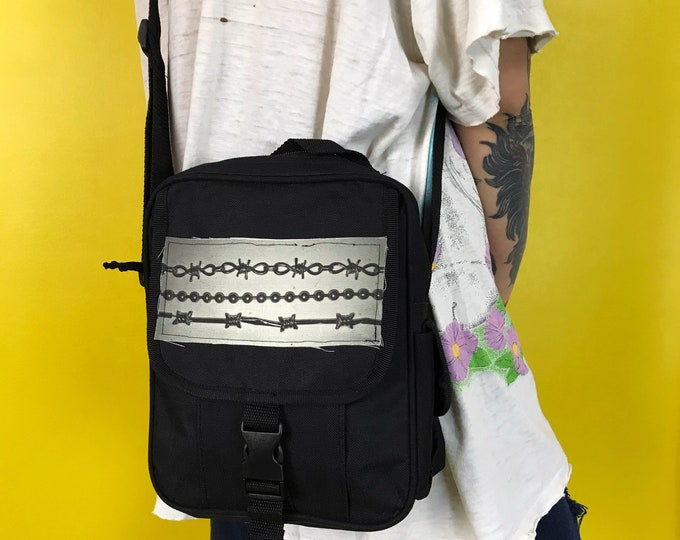 Barbed Wire 90's Crossbody Everyday Bag Unisex - Vintage UPCYCLED Long Strap Zip Up Bag w/ Patch - Ball Chain Industrial Goth Bag Black Gray