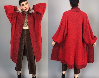 80's Long Red Boucle Knit Oversized Slouchy Open Front Cardigan One Size - Red Black Long Knit Cardi w/ Side Pockets - Vtg Cozy Fall Layer