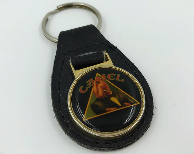 90's Joe Camel Leather Keychain - Joe Camel Cigarettes Logo Brand Black Leather Key Fob Keychain Vintage Nineties Camel Points Keychain