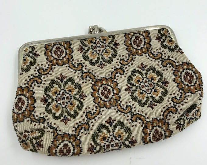 80's Tapestry Print Double Compartment Snap Closure Wallet - VTG Girly Coin Purse Statement Wallet Money/Card Case Cute Flower Purse Insert