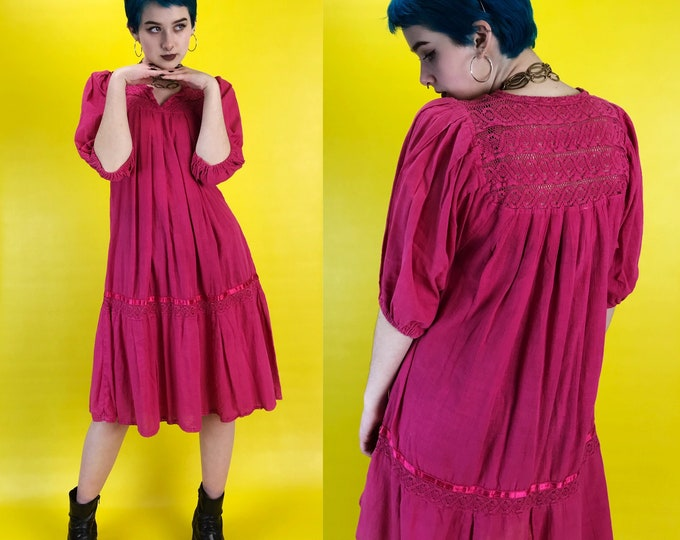 80s Hot Pink Muu Muu Tent Dress Womens S/M Tunic - Boho Festival Hipster Artist House Dress Sundress - Vintage Chic Maternity Moo Moo Dress