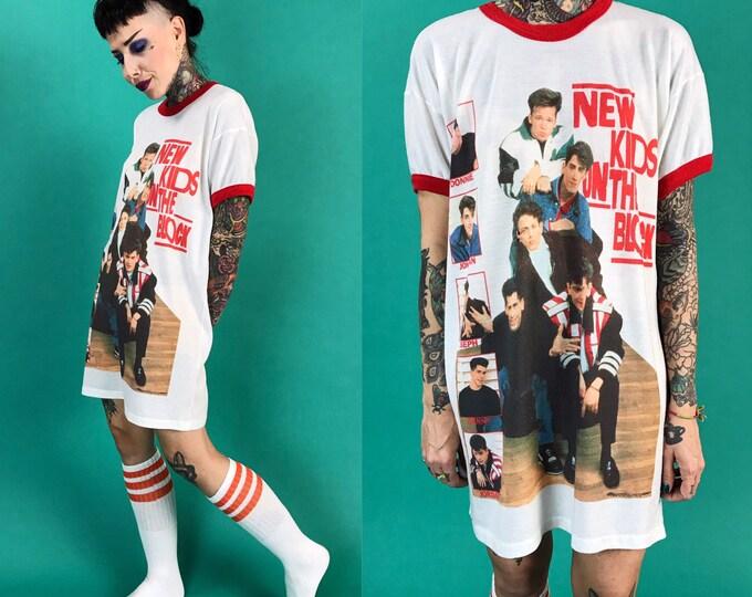 90s New Kids On The Block Ringer Style Sleep Shirt S/M - Red White Graphic Long NKOTB Shirt Dress Night Gown - New Kids MTV Sleep Shirt