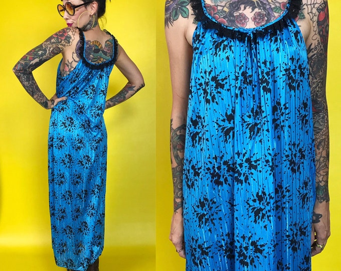 80's Long Floral Slip Dress Nightgown Medium - Allover Print Floor Length Black Blue Slip Lingerie Tank Dress - Vintage Sexy Burnout Dress