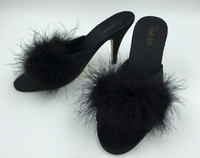 Vintage Fredericks Of Hollywood Black Feather Detail Heels size US 6 - Sexy Open Toe Marabou Feather Lingerie Slides - 3 Inch Heel Slippers