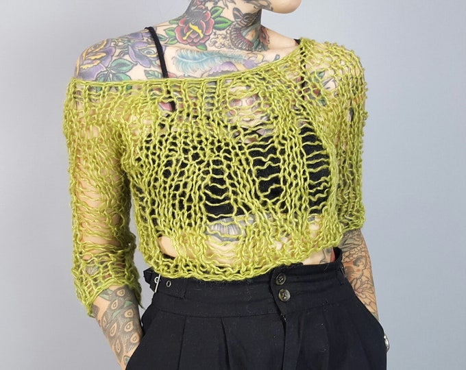 HANDMADE 90s Style Sheer Knit Sweater Top - Womens Small Grunge Shirt- Open See Through Ecofriendly Fall Autumn Handknit Lime Green Handknit