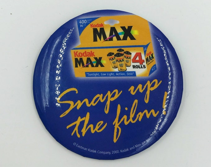 "Vintage 3"" Pinback Button - Snap Up The Film KODAK Camera Film Button/Pin Large Pinback Y2K Brand Ad Badge - BIG Photography Pinback Button"