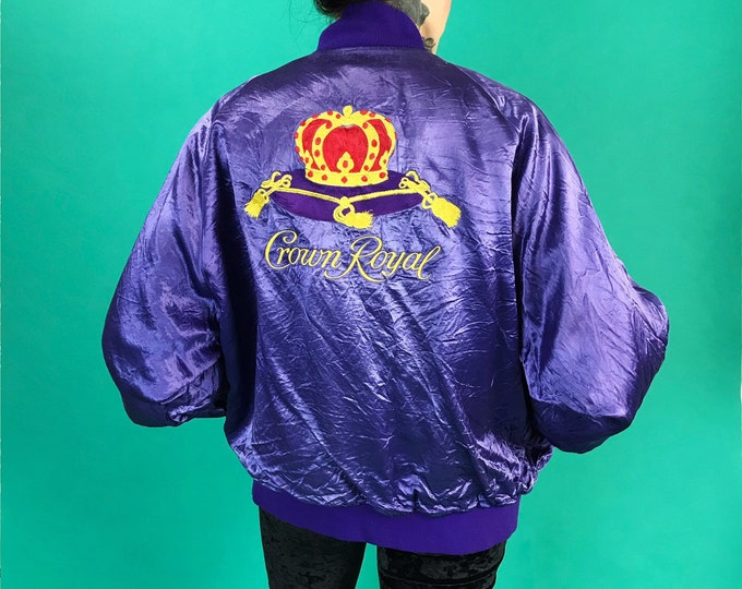 Vintage Crown Royal Satin Windbreaker Bomber Jacket Adult Medium - RARE 80s/90s Purple Crown Royal Back Logo Jacket - Canadian Whisky Logo