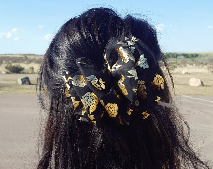 1990's Black + Gold Bow Hair Clip  - 90s Black Metallic Rose Puff Bow Large Statement Hair Barrette - Cute Fun Romantic Retro Girly Clip