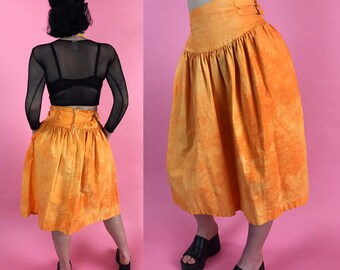 80's Orange Tie Dye GRUNGE Midi Skirt Size 4/6 - Hand Dyed Cotton Skirt W/ Pockets - Unique Funky High Waist VTG Remade Grunge Bondage Skirt