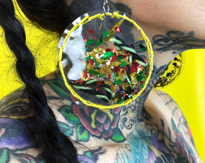 Handmade Clear Vinyl Hand Stitched Confetti Filled Statement Earrings - Fun Yellow Media Glittery Star Oversized Dangly Round Party Jewelry