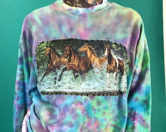 Rainbow Tie Dye Horse Patch Long Sleeve 90s Tee Womens Medium - Hand Stitched Patched Horses Graphic Unique Upcycled One Off Tie Dye Shirt