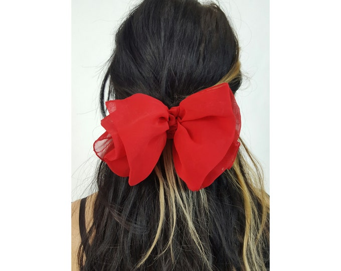 90's Large Sheer Red Puff Hair Clip - 1990s Vintage Hairclip - Big Bow Barrette Statement Hairbow Women's Accessory
