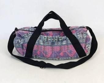 b91fbdf5b9 80s 90 s All Over Print Duffel Bag Carry All Bag Travel Bag - Slouchy Tote  Bag Soft Cotton Denim Luggage Pink Purple Funky Colorful Gym Bag