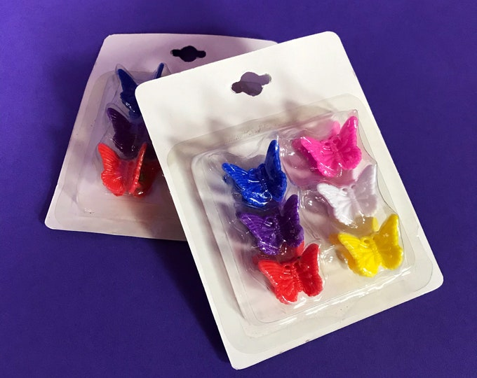 90s Y2K Rainbow Butterfly Hair clips (2 Packs) - Deadstock Plastic Colorful Mini Butterfly Claw Clips - Vintage Hair Accessory 12 Pack Lot