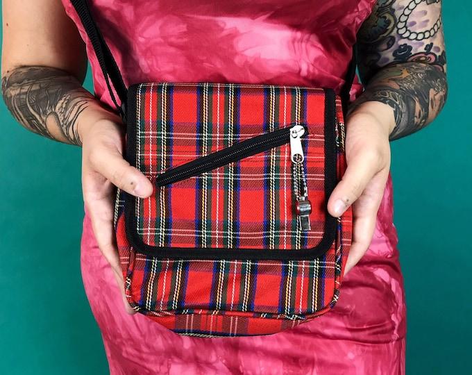 90's Red Plaid Mini Crossbody Purse - Grunge Skater Derby Girl Plaid Bag - VTG Y2K Everyday Goth School Girl Plaid Mini Bag w/ Charm Zipper
