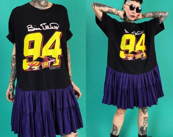 90's NASCAR Drop Waist T-shirt Dress Medium - Upcycled Lunar Eclipse Dress Bill Elliot #94 Racecar Nascar Shirt Dress Grunge Purple Black
