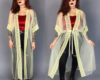 1970's Sheer Pale Yellow Lingerie Duster One Size - See Through Long Flowy Layering Top With Lace Trim - Floor Length Pastel Cover Up Duster