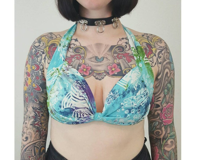 90's Blue Handmade Batik Fabric Crop Bra Top - Summer Beach Bralette Cami Tropical Halter Top - Medium Large Vtg Cropped Open Back Sun Top