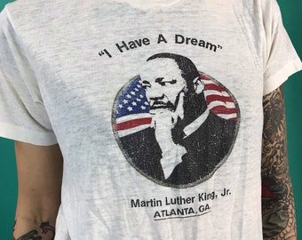 "paper Thin MKL Jr. 80s Black History Iconic Tee XS - White Retro 50/50 Rare Unisex African American Black Pride ""I Have A Dream"" Atlanta ATL"