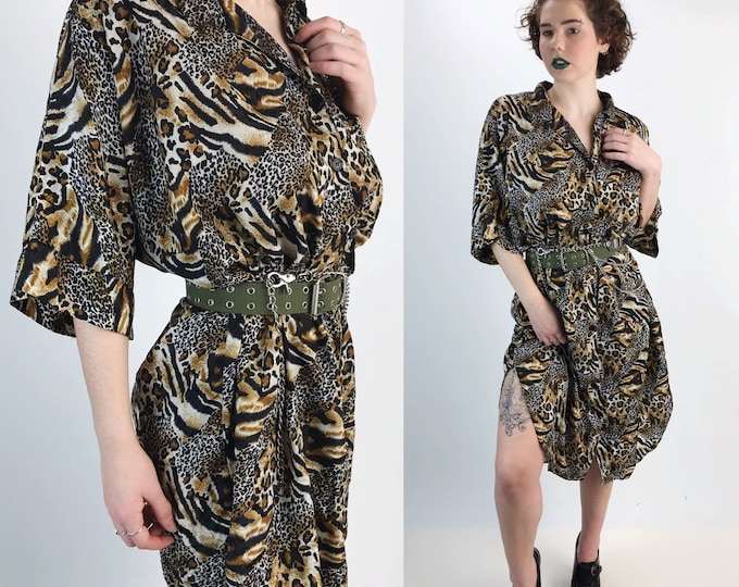 80's Long Leopard Print Button Up Shirt Dress One Size - Long Line Cheetah Zebra Printed Oversized Button Front Sleep Shirt Plus Size Long