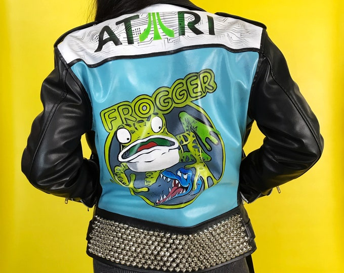 Custom FROGGER Vegan Leather Hand Painted Neon Motorcycle Jacket Small 36 - Custom Atari Video Game Studded Back Patch Punk - Faux Leather