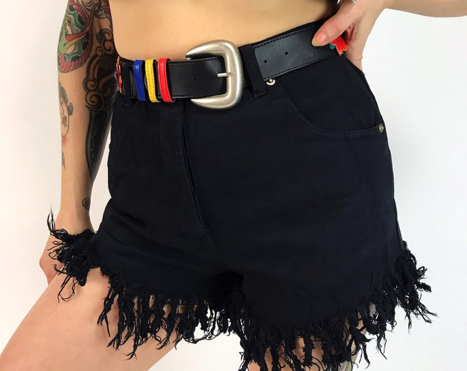 "90's Black High Waist Denim Fringe Shorts w/ Belt 28"" Small - Button Fly DEADSTOCK Denim Basics - Frayed Soft Jean Shorts w/ Flower Belt"