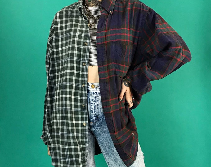 Vintage Reconstructed 2 Tone Flannel Adult Large - Remade Split Half & Half Mixed Prints Plaid Upcycled Long Sleeve Grunge Button Up Top