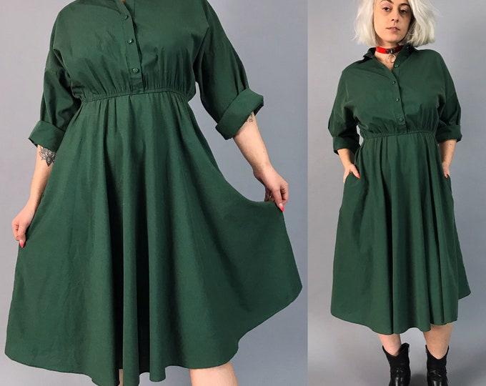 80's Casual 50/50 Kelly Green Shirtdress Medium - Basic Vintage Everyday Dress Dark Solid Green Long Sleeve Midi Blouse Dress W/ Pockets