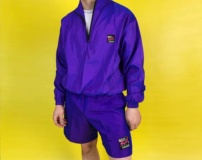 90's Two Piece Surf Style Iridescent Windbreaker & Shorts Set Mens S/M - Purple 2 Tone Sea Punk Summer Outfit Sporty Swim Trunks Beachwear