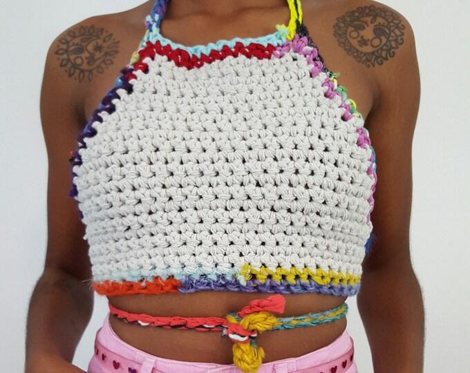 Handmade Crochet Halter Top - XS Small Striped Hand Crocheted Boho Bra Top - Bohemian Festival Bralette Backless Open Back Belly Shirt